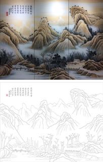 山水画背景墙雕刻图案