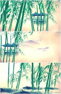 水墨茂密竹林竹子树林穿行视频