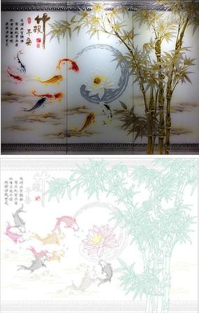 竹报平安背景墙雕刻图案