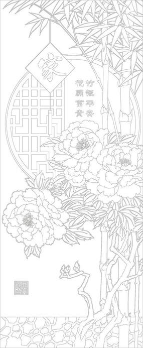 竹报平安玄关雕刻图案