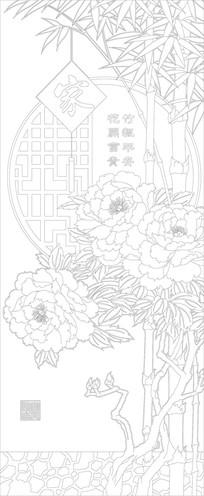 竹报平安玄关雕刻图案 CDR