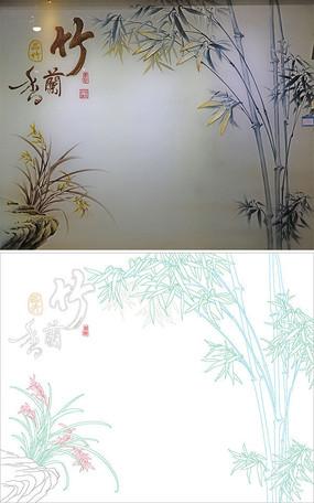竹兰香背景墙雕刻图案