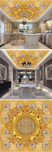 3D立体金色花纹天顶吊顶壁画
