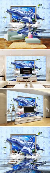 3D立体相框母子海豚背景墙