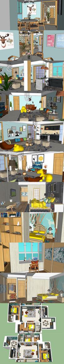 北欧室内家装设计SU模型
