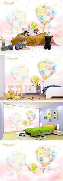 彩色卡通热气球背景墙
