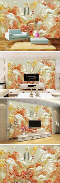 家和富贵玉雕荷花鲤鱼背景墙