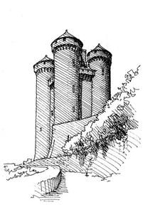 较高的城堡手绘图