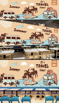 欧美时尚夏天旅游酒吧背景墙 PSD
