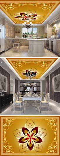 欧式金色花纹天顶吊顶壁画