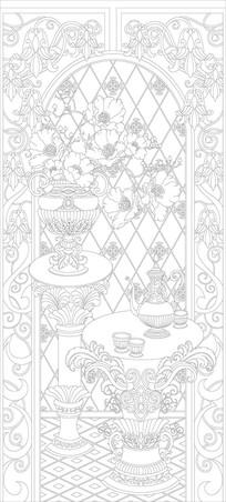 奢华花纹花瓶雕刻图案