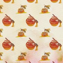 手绘蜜蜂蜂蜜图案