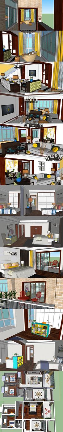 新中式风格复式楼室内SU模型