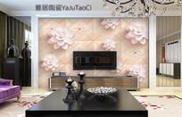 仿古砖现代抽象花朵背景墙