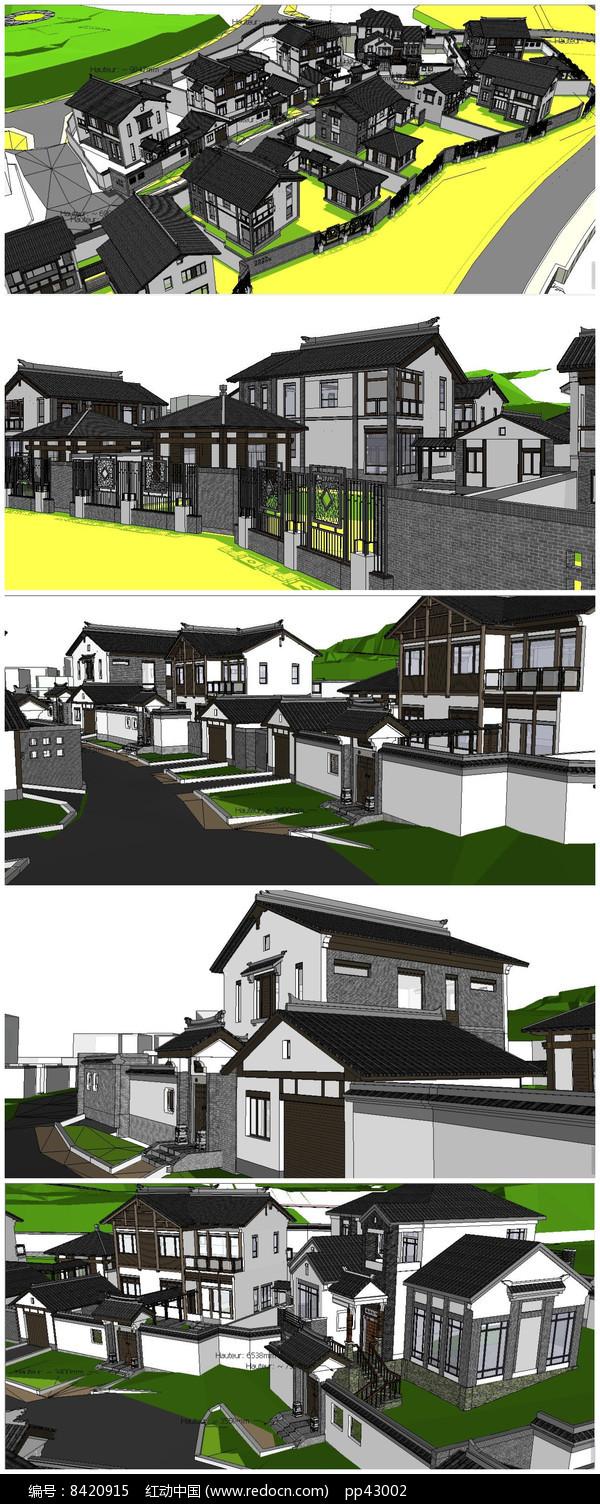 高档中式小区整体规划SU模型图片