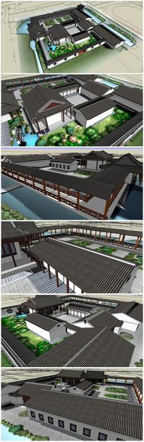 古代书院整体建筑规划SU模型 skp