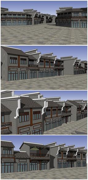 古镇商业街整体规划SU模型