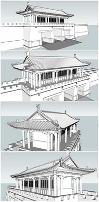 景区入口中式古城门SU模型 skp