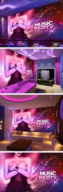 梦幻音乐美女背景墙