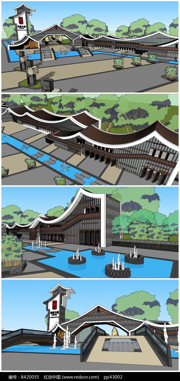 某旅游区大门及广场SU模型图片