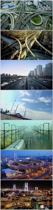 实拍高速公路高架桥火车高铁 mp4
