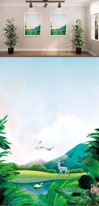 手绘插画背景墙装饰画