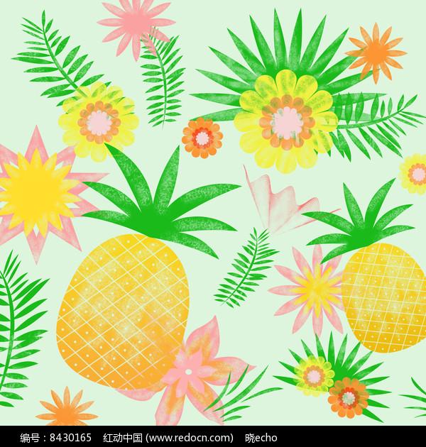 鼠绘热带水果插画图片