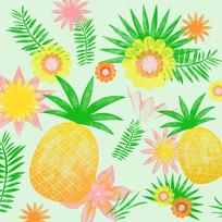 鼠绘热带水果插画