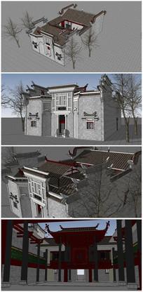 特色中式古典民居SU模型 skp
