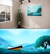 唯美手绘山水背景墙装饰画