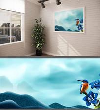 唯美水彩背景墙装饰画