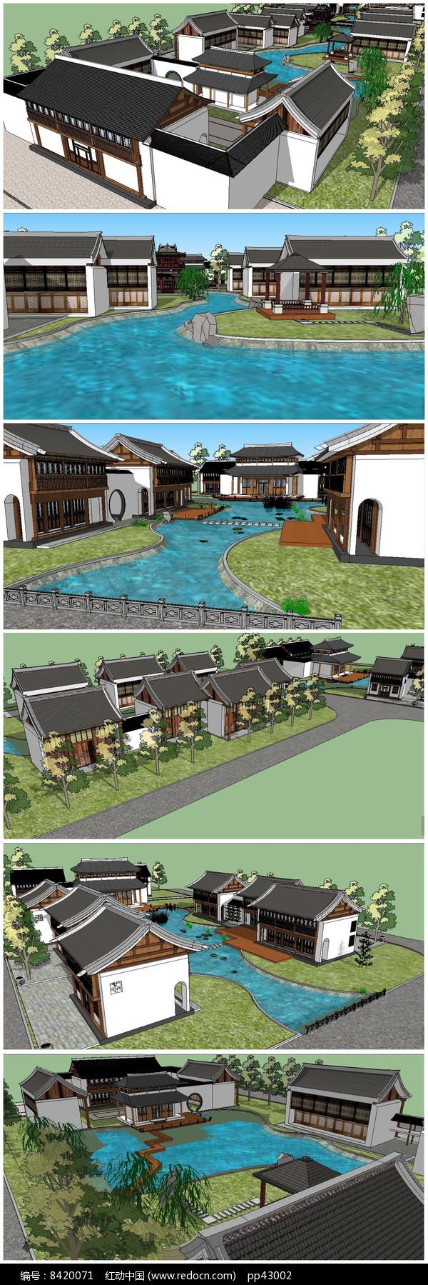 休闲度假村整体规划SU模型图片