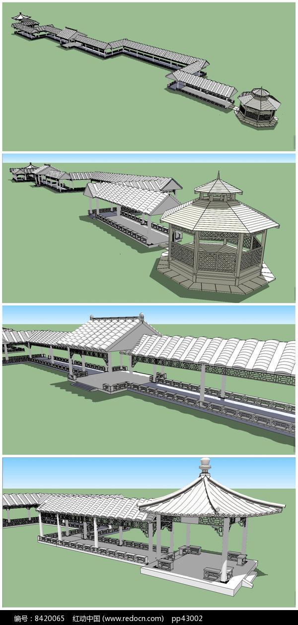 中式长廊及亭子水榭SU模型图片