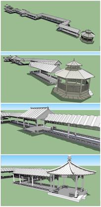中式长廊及亭子水榭SU模型