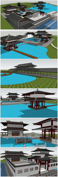 中式传统风格汉代宫廷建筑规划 skp