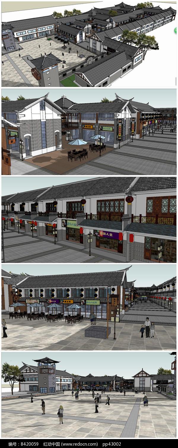 中式风格商业步行街Su模型图片