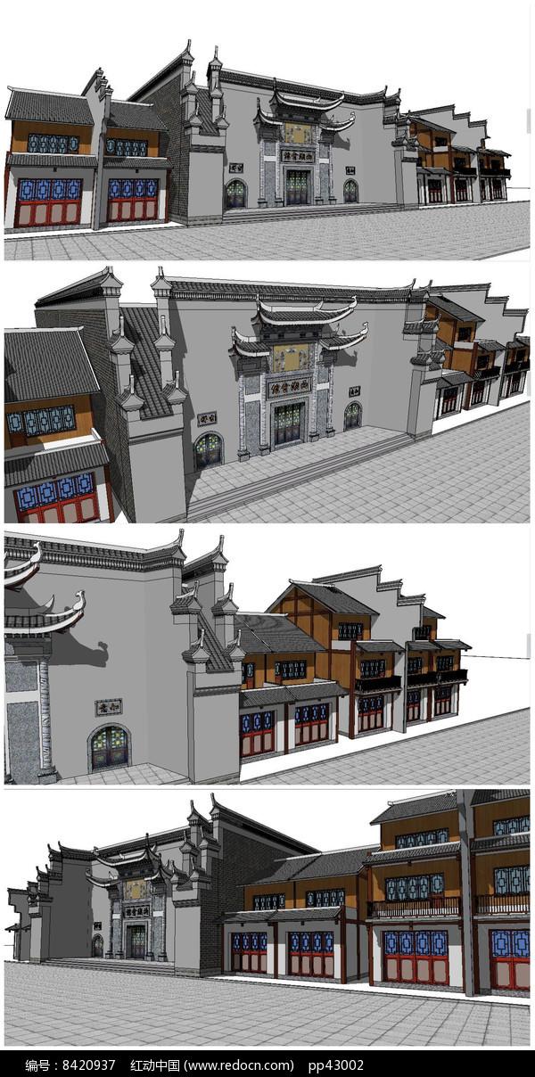 中式古典餐厅酒楼SU模型图片