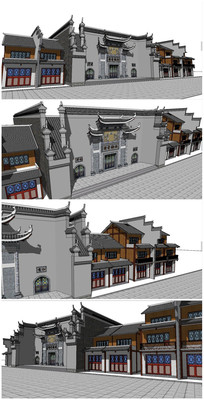 中式古典餐厅酒楼SU模型 skp