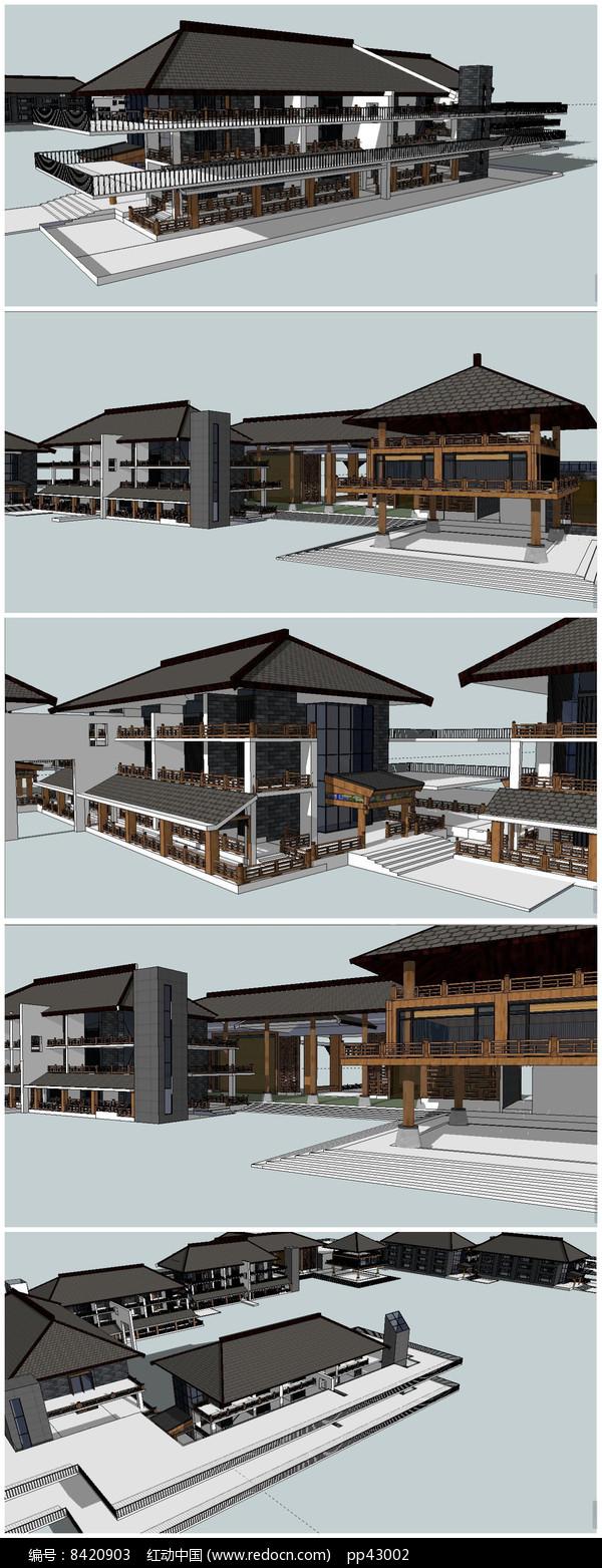 中式古典风格度假村SU模型图片