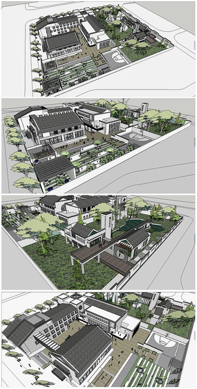 中式会所建筑整体规划SU模型
