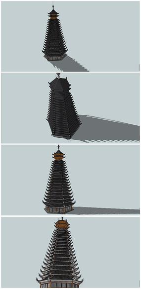中式民族特色风格塔SU模型