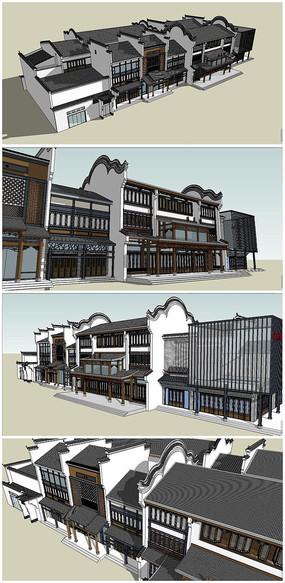 中式商业古街建筑SU模型