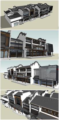 中式商业古街建筑SU模型 skp