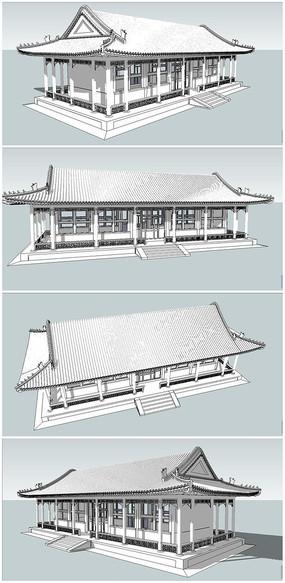 中式厢房建筑SU模型