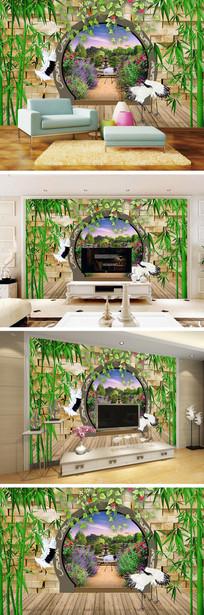 3D立体弧形门竹子仙鹤背景墙