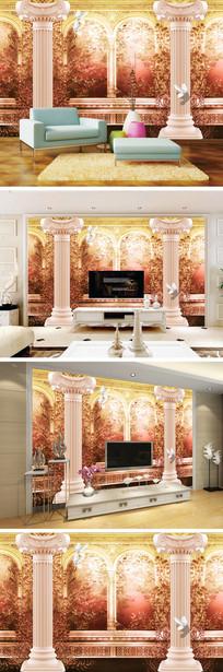 3D立体罗马柱鸽子花朵背景墙