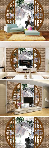 3D立体圆门竹子仙鹤背景墙