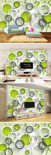3D立体圆圈竹林背景墙