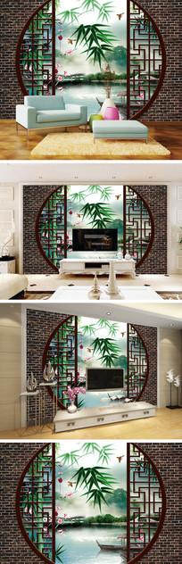 3D立体圆形门竹子风景背景墙