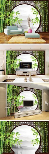 3D立体中式花纹竹子背景墙